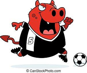 Cartoon Devil Soccer