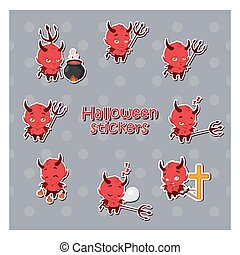 Cartoon Devil sticker illustration