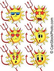 Cartoon devil sun with pitchfork.