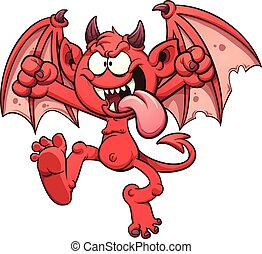 Cartoon devil. Vector clip art illustration with simple gradients. All in a single layer.