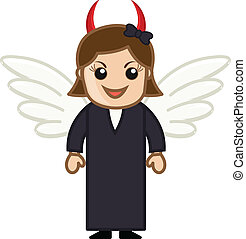 Cartoon Devil Woman Character