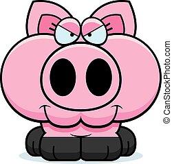 Cartoon Devious Pig - A cartoon illustration of a little pig...