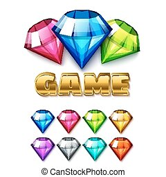Cartoon Diamond Shaped Gem Icons Set with gold lettering...