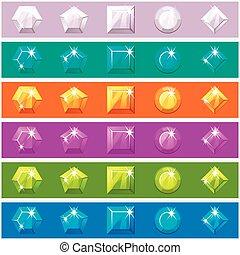 Cartoon diamonds set in editable different colors