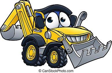 Cartoon Digger Bulldozer Character