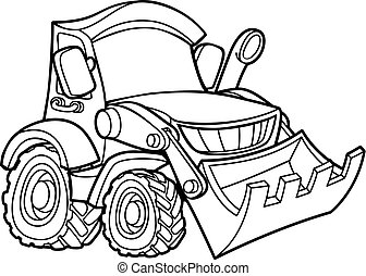 Cartoon Digger Bulldozer