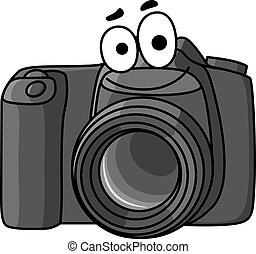 Cartoon vector illustration of a little black digital camera with a smiling face isolated on white