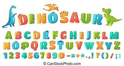 Cartoon dino font. Dinosaur alphabet letters and numbers, funny dinos letter signs for nursery or kindergarten kids vector illustration set. Alphabet dinosaur, abc kids letter typography