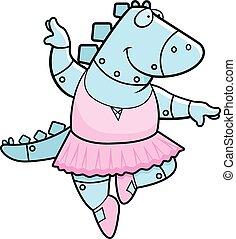 Cartoon Dinosaur Ballerina Robot - A cartoon illustration of...
