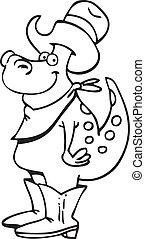 Cartoon Dinosaur Cowboy