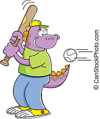 Cartoon dinosaur hitting a baseball