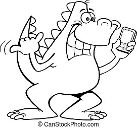 Cartoon dinosaur holding a cell phone.