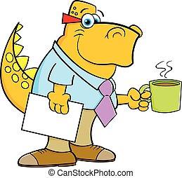 Cartoon dinosaur holding a coffee cup.