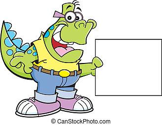 Cartoon Dinosaur Holding a Sign
