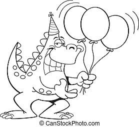 Cartoon Dinosaur Holding Balloons ( - Black and white...