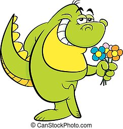 Cartoon dinosaur holding flowers.