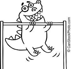 cartoon dinosaur pulls up on the transponder - Cartoon...