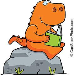 Cartoon Dinosaur Reading - A cartoon dinosaur reading a book...