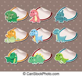 Cartoon dinosaur Stickers Label