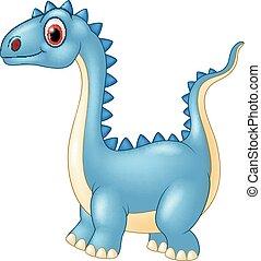 Cartoon dinosaur with a a long neck - animal, archeology,...