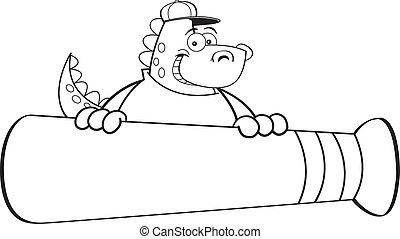 Cartoon Dinosaur with a Baseball Ba