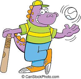 Cartoon dinosaur with a bat and bas