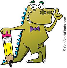 Cartoon dinosaur with a pencil and