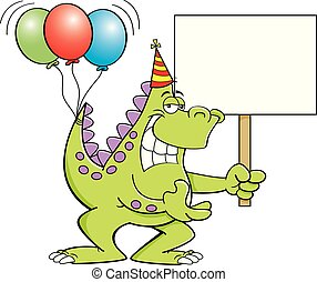 Cartoon dinosaur with balloons on it's tail and holding a sign.