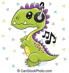 Dinosaur with headphones isolated on a white background