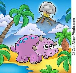 Cartoon dinosaur with volcano - color illustration.