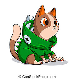 .cartoon, dinosaure, déguisement, illustration, chat