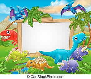 Cartoon Dinosaurs Sign - A sign surrounded by cute cartoon...