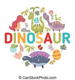Cartoon dinosaurs symbols in the sh