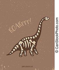 Cartoon diplodocus dinosaur fossil. Vector illustration
