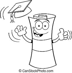 Cartoon Diploma Graduating - Black and white illustration of...