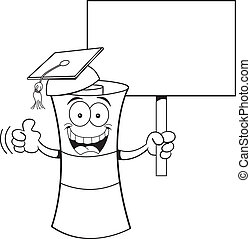 Cartoon diploma with a sign