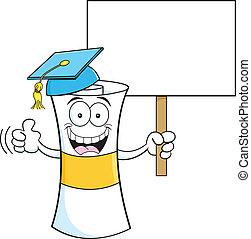 Cartoon diploma with a sign