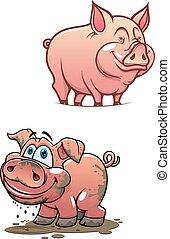 Cartoon dirty piggy and clean pink pig