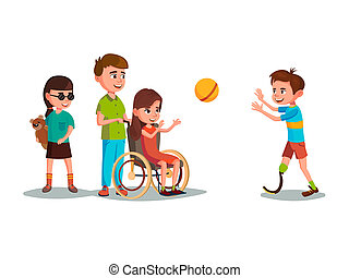cartoon disabled teen kids playing set