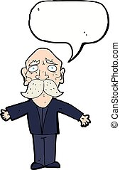 cartoon disapointed old man with speech bubble