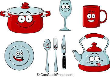 Cartoon dishware and kitchenware set
