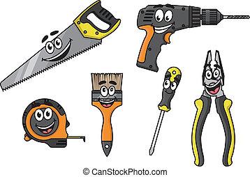 cartoon, diy., redskaberne, bogstaverne