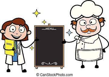 Cartoon Doctor and Chef with Banner Vector