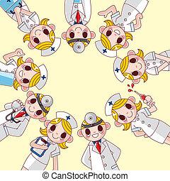 cartoon doctor and nurse card