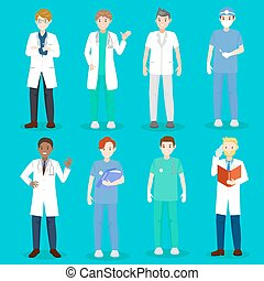 cartoon doctor and nurse on blue background