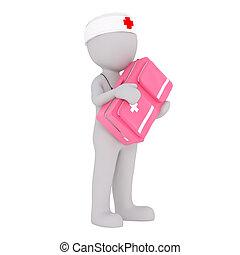 Cartoon Doctor Carrying Large Pink Medical Kit - Generic...