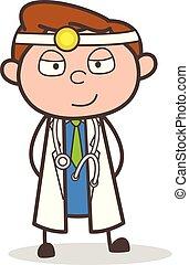 Cartoon Doctor Cunning Smile Vector Illustration