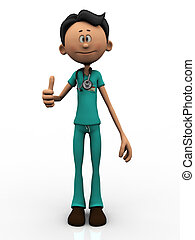Cartoon doctor doing a thumbs up.