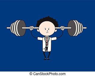Cartoon Doctor - Doing Weight Lifting