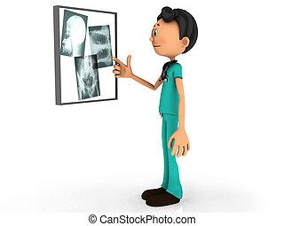 Cartoon doctor examining x-ray plates.